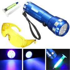 Leak Detector A/C Automotive Fluid Gas 14 LED UV Light With Safety Glasses Tool