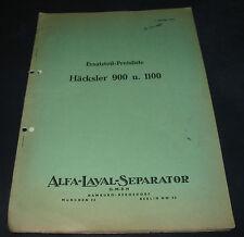 Alfa Laval Seperator Preisliste Ersatzteile Häcksler 900 / 1100 Stand 1957