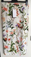 ZARA Cream Coral Floral Printed Fitted Straight Midi Skirt Medium Bloggers Rare