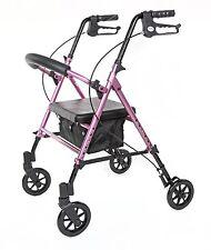 PINK Rollator Walker with ADJUSTABLE Seat & Handle Height, 300 lb Capacity