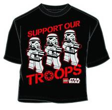 "STAR WARS LEGO ""SUPPORT OUR TROOPS"" BLACK T-SHIRT LARGE MAD ENGINE STORMTROOPERS"