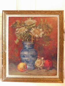Marius MANGIER (1867-1952) Oil On Cardboard Still Life IN Apples And Au Thistles