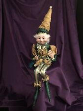 """NEW CHRISTMAS PIXIE ELF 24"""" DECORATIVE WIREFRAME DOLL STYLE D - HARLEQUIN GOLD"""