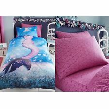 MERMAID WAVE GIRLS SINGLE DUVET COVER + FITTED SHEET + PILLOWCASES - 4 IN 1
