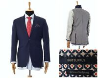 Mens SUITSUPPLY Blazer Coat Jacket Wool Two Button Navy Blue Size 40 50