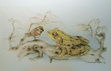 Art Greeting Card Picture Frog Bird Chickadee Sparrow Drawing