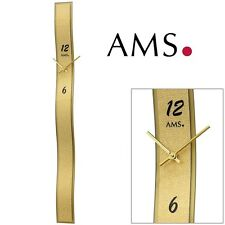 Ams 9415 Wall Clock Quartz Gold Coloured, Design Synthetic Leather Application