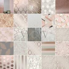 Rose Gold Wallpaper Exotic Flowers Tropical Palm Leaves Geometric Glitter