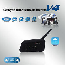 V4 1200M BT Interphone Motorcycle Motorbike Helmet Bluetooth Intercom Headset US
