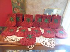 Beaded Satin Christmas Stockings - Gift Bags - Coasters - Ornaments - Set of 12