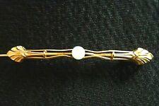 Ancienne Broche Fantaisie Métal doré & perle blanche B/T