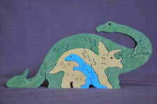 Long Neck & Triceratops Dinosaur Wood Puzzle Amish Made Scroll Saw Toy