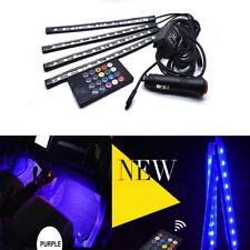Car Interior Atmosphere Neon Lights Strip Wireless IR Remote/Voice Control 4pcs
