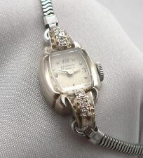Vintage BENRUS 14K White GOLD DIAMOND 21j Ladies WRISTWATCH SWISS Wrist Watch
