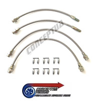 Stainless Braided Brake 4 Lines Hose Set Clear - For R32 GTS-T Skyline RB20DET