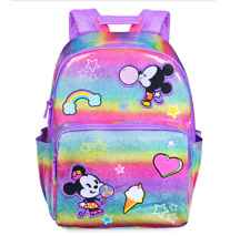 Disney Authentic Minnie & Minnie Mouse Rainbow Backpack Laptop Tablet Bag NWT