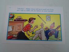 Risque Vintage Postcard FIDDLE+PIANO+PRE MARRIAGE Humour Artist TROW  §A44