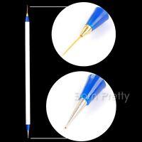 Nail Art Spot Swirl Dotting Tool & UV Gel Schlepper Spitz Pinsel 2 Weise