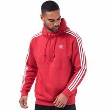 Men's adidas Originals 3-Stripes Quarter Zip Hoodie Sweatshirt in Red