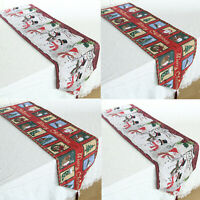 Christmas Table Runner with Tassels Party Dining Room Decor Snowman Santa Claus