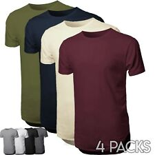 Mens Basic Hipster T Shirts Casual Extended Longline Bulk Hip Hop 4 Lots Tee