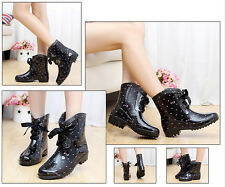 womens fashion rain shoes middle short canister water shoes galoshes sweet boots