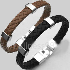 New Men Women Leather Wrap Wristband Cuff Magnetic Clasp Bracelet Jewelry Cool