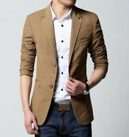 Fashion Mens Casual Two-Button Blazer Slim Fit Tops Lapel Suits Coat Jacket New
