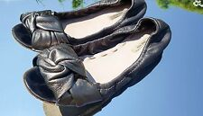Ladies MIU MIU by PRADA Dark Grey Metallic Leather Flat Ballerinas Size 36 UK 3