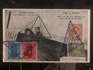 1932 Quito Ecuador First Flight Postcard cover FFC to Tulcan Ecuador Airplane