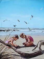 Vintage 1960s print children on beach