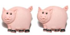 CUTE PINK PIG STUD OR CLIP ON EARRINGS (S017)