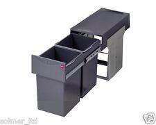 Hailo Tandem 30L (2x15L) Pull Out Waste Bin 300mm Hinged Door Kitchen Unit -Grey