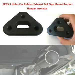 2x 3 Holes Car Truck Exhaust Tail Pipe Mount Bracket Hanger Insulator Rubber Pad