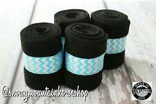 Horse Polo Leg Wraps Stable Wraps Set of 4 Turquoise Hologram Black Base
