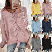 V Neck Knitted Lace Jumper Sweaters Loose Tops Up Pullover Women's Blouse Casual