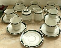 Majesty Collection Black fantasy Set 7 Tea/Coffee Cups W/ Saucers Sugar Creamer