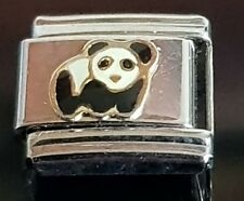 Panda italiano pulsera con dijes de enlace encantos se ajusta nominación
