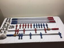 VINTAGE 1940's Foosball 11 Red and 11 Blue Cast-Aluminum Men w/Rods and Bushings