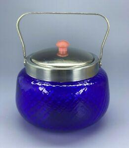 Vintage Sugar Bowl Royal Blue Glass Soviet Russia USSR Soviet Leningrad Pink