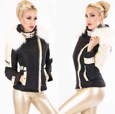 Warme Damen Winter Jacke mit Kunstleder Patches gold Webpelz Kunstfell gefüttert