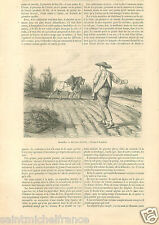 Sowing Semis Semailles Agriculture Agriculteur France GRAVURE ANTIQUE PRINT 1859