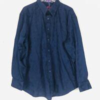 Robert Graham Mens Purple Floral Damask Flip Cuffs Long Sleeve Button Shirt 3XL