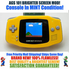 Nintendo Game Boy Advance GBA Yellow System AGS 101 Brighter Backlit Mod MINT