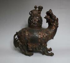 Large Antique Chinese Bronze Incense Burner carved Kylin