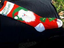 Vintage Hand Knit Christmas Stocking w/Angora Santa Beard Has Holes