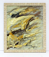 Abstract Colors Gold Grey Hues  20 x 24 Oil Painting on Canvas w/ Custom Frame
