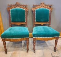 Antique Victorian Eastlake Carved Burl Wood Dining Side Accent Chairs | Pair