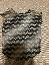 Klass Size Small Blue Grey Gold Zigzag Chevron Stripe Top (worn once)