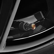Porsche Tequipment Aluminum Valve Stem Caps- Black/ Color Crest
